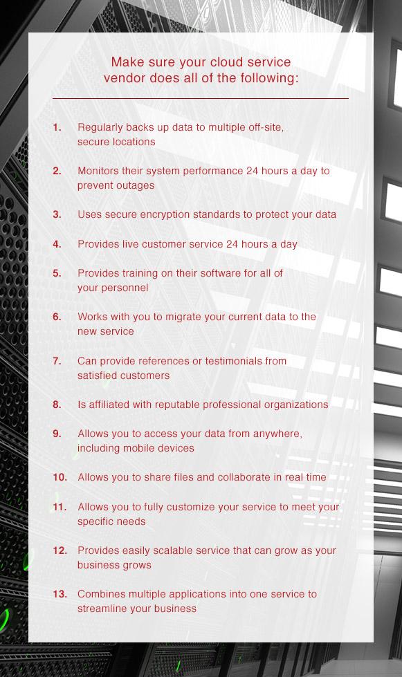 a list of items your cloud service vendor should be providing