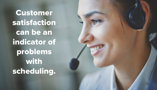 customer satisfaction can be an indicator of scheduling problems
