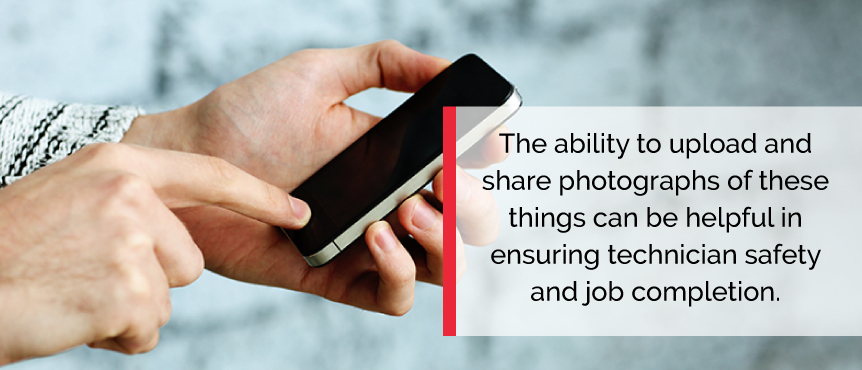Ensure job quality and safety by uploading important photos for technicians.