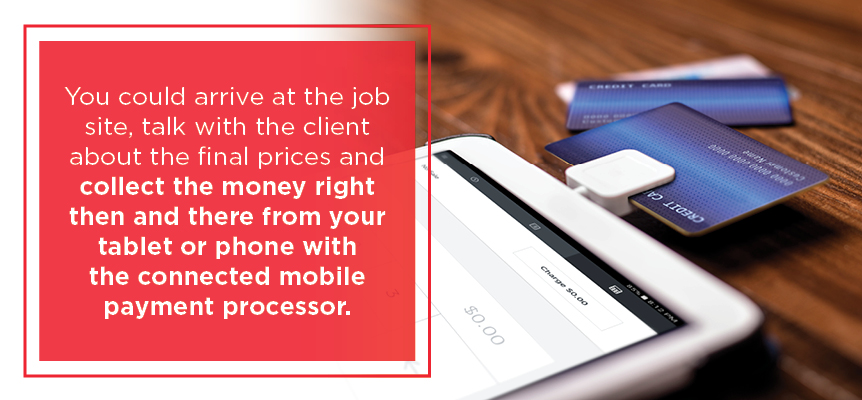 collect money from your tablet or phone connected to the processor
